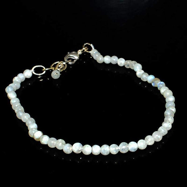 gemsmore:Amazing Natural Blue Flash Moonstone Bracelet Unheated Round Beads