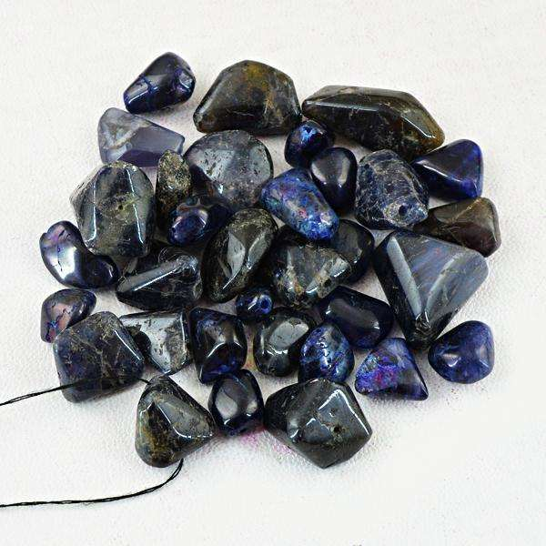 gemsmore:Amazing Natural Blue Iolite Drilled Beads Lot