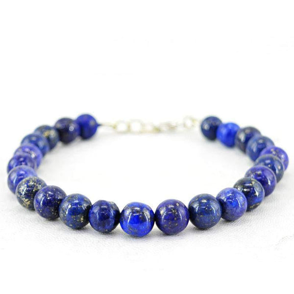 gemsmore:Amazing Natural Blue Lapis Lazuli Bracelet Round Shape Beads