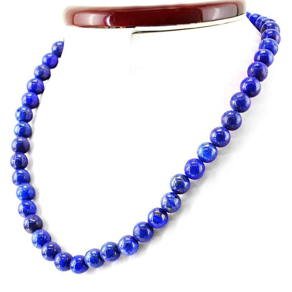 gemsmore:Amazing Natural Blue Lapis Lazuli Necklace Round Shape Beads
