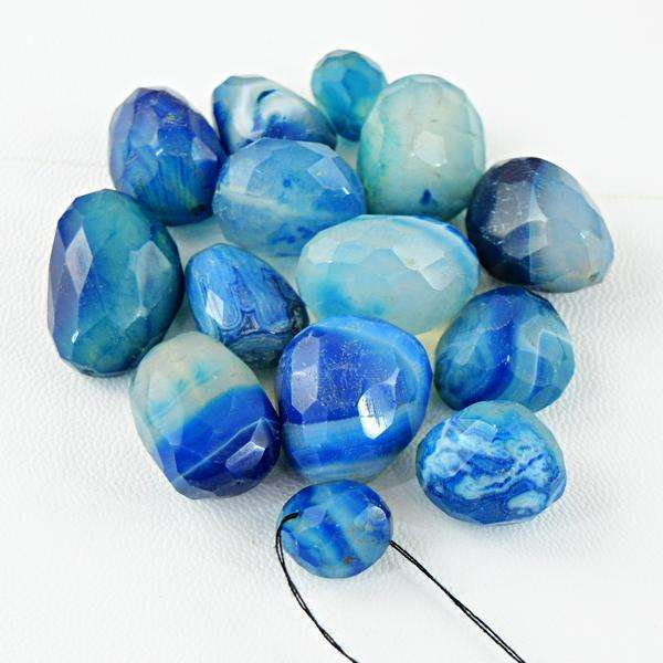 gemsmore:Amazing Natural Blue Onyx Drilled Beads Lot