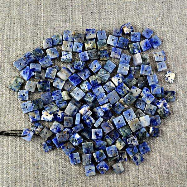 gemsmore:Amazing Natural Blue Sodalite Drilled Beads Lot