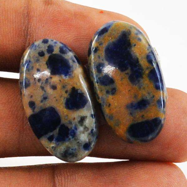 gemsmore:Amazing Natural Blue Sodalite Oval Shape Loose Gemstone Pair