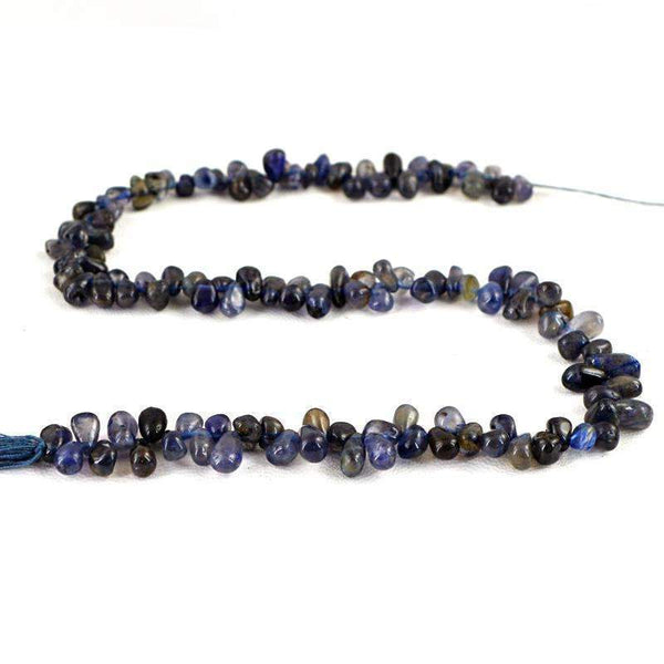 gemsmore:Amazing Natural Blue Tanzanite Beads Strand - Drilled