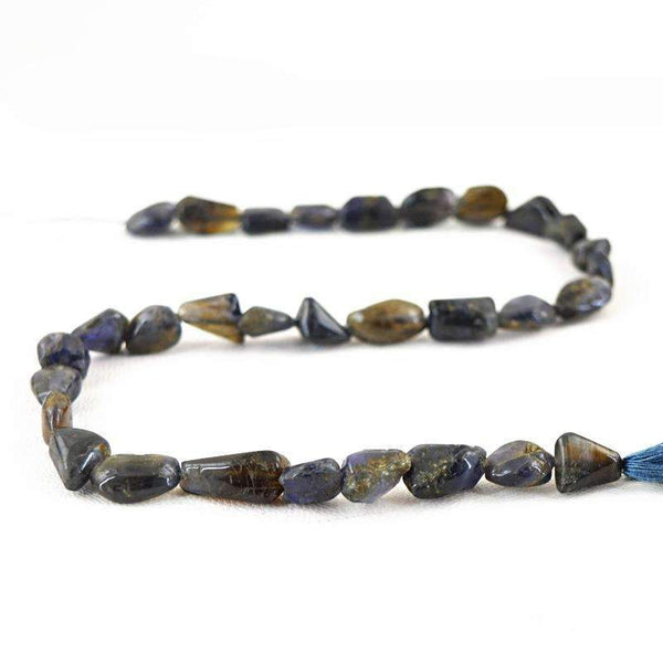 gemsmore:Amazing Natural Blue Tanzanite Drilled Beads Strand