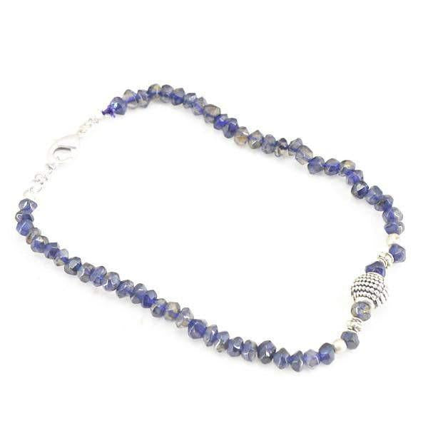 gemsmore:Amazing Natural Blue Tanzanite Necklace Round Shape Faceted Beads