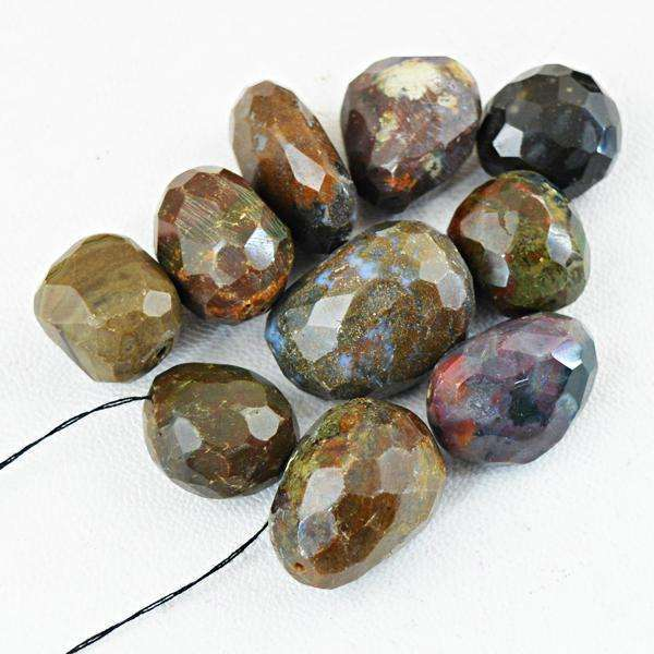 gemsmore:Amazing Natural Faceted Bloodstone Drilled Beads Lot