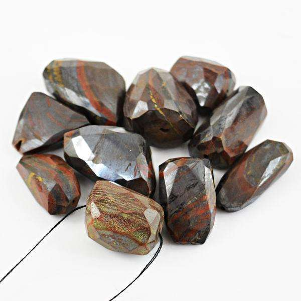 gemsmore:Amazing Natural Faceted Iron Tiger Eye Drilled Beads Lot