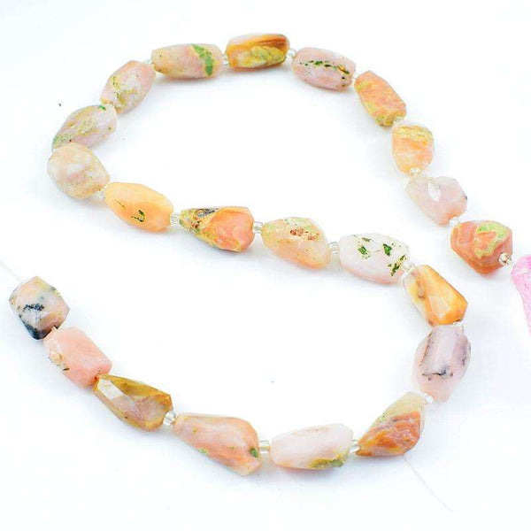 gemsmore:Amazing Natural Faceted Pink Australian Opal Drilled Beads Strand