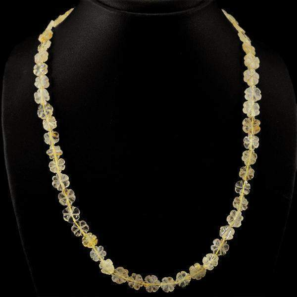 gemsmore:Amazing Natural Golden Rutile Quartz Necklace Carved Beads