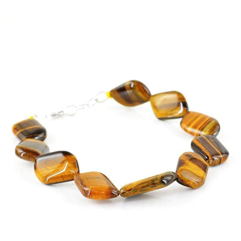 gemsmore:Amazing Natural Golden Tiger Eye Bracelet Untreated Beads