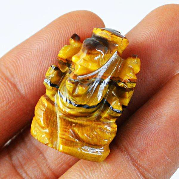 gemsmore:Amazing Natural Golden Tiger Eye Carved Ganesha Gemstone