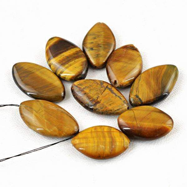 gemsmore:Amazing Natural Golden Tiger Eye Drilled Beads Lot