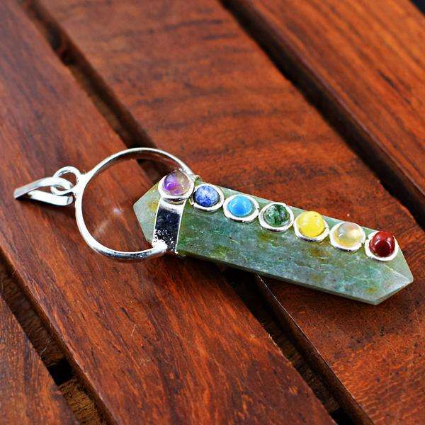 gemsmore:Amazing Natural Green Aventurine Seven Chakra Healing Point Pendant