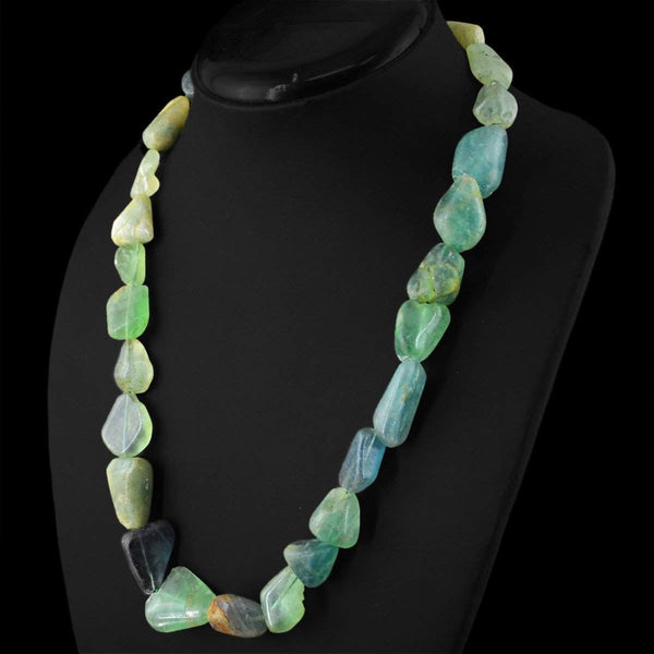 gemsmore:Amazing Natural Green Fluorite Necklace Unheated Beads