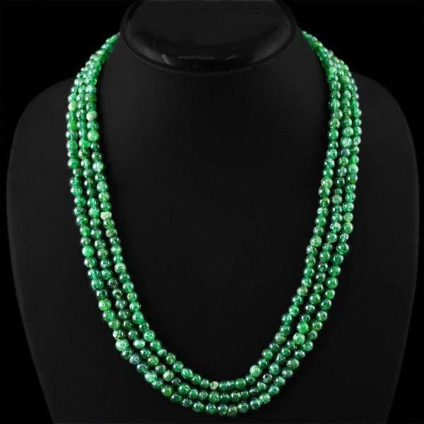 gemsmore:Amazing Natural Green Jade Necklace 3 Strand Round Shape Untreated Beads