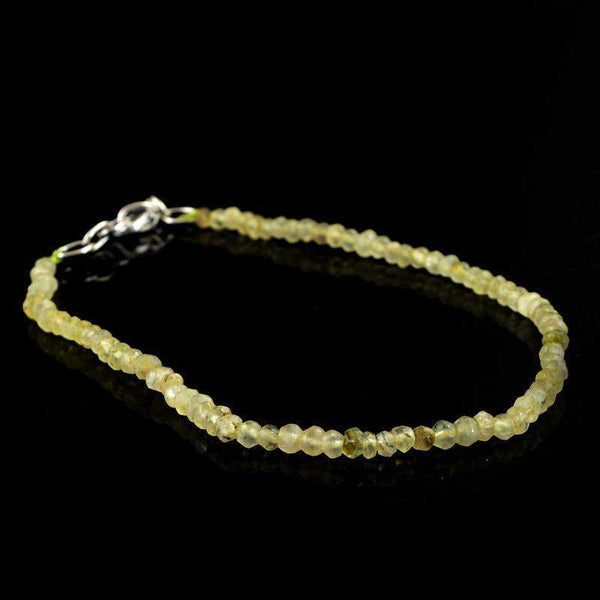 gemsmore:Amazing Natural Green Phrenite Bracelet Round Faceted Beads