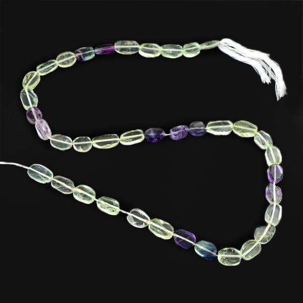 gemsmore:Amazing Natural Multicolor Fluorite Drilled Beads Strand