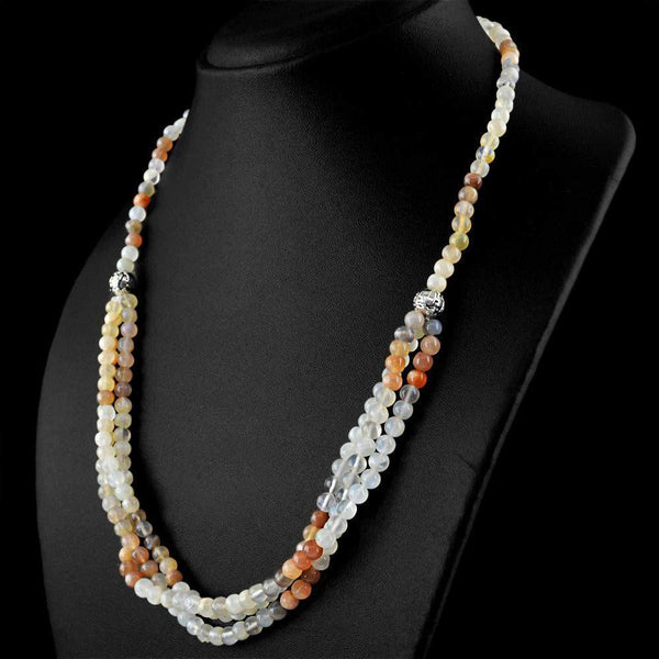 gemsmore:Amazing Natural Multicolor Moonstone Necklace Round Shape Beads