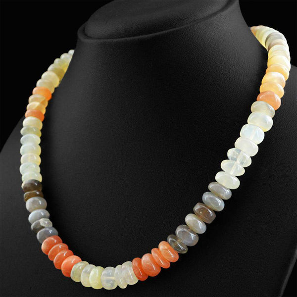gemsmore:Amazing Natural Multicolor Moonstone Necklace Round Shape Unheated Beads