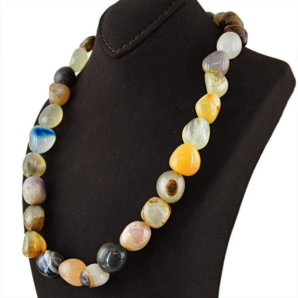gemsmore:Amazing Natural Multicolor Multi Gemstone Necklace Untreated Beads