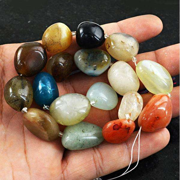 gemsmore:Amazing Natural Multicolor Onyx Drilled Beads Strand