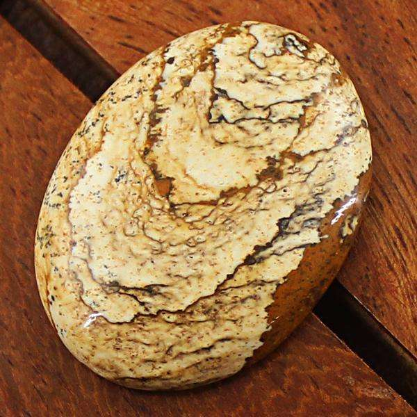 gemsmore:Amazing Natural Picture Jasper Oval Shape Untreated Loose Gemstone