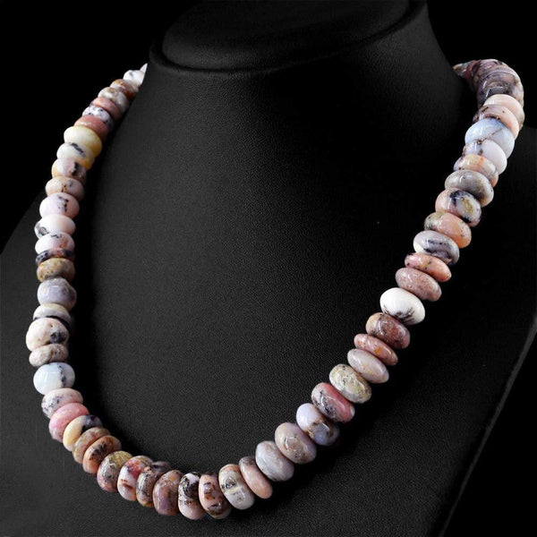 gemsmore:Amazing Natural Pink Australian Opal Necklace Untreated Round Shape Beads
