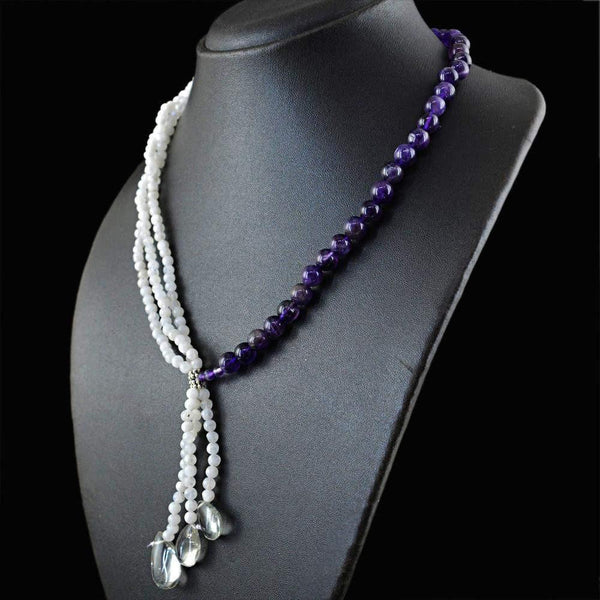 gemsmore:Amazing Natural Purple Amethyst & Blue Flash Moonstone Necklace