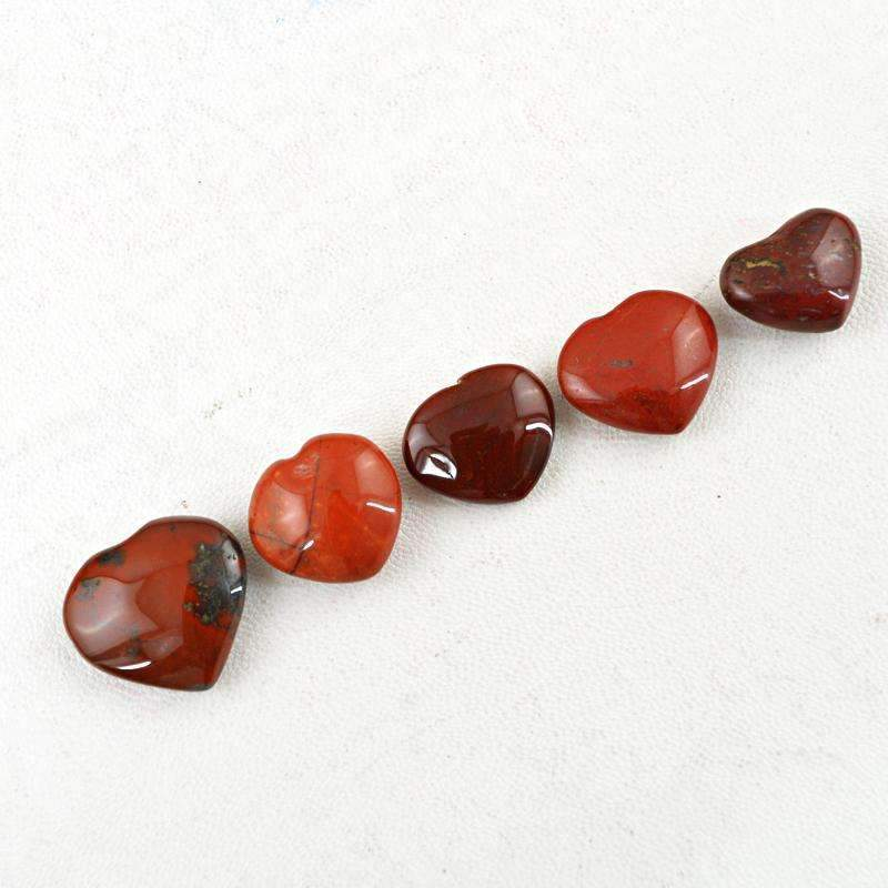 gemsmore:Amazing Natural Red Jasper Gemstone Lot - Heart Shape