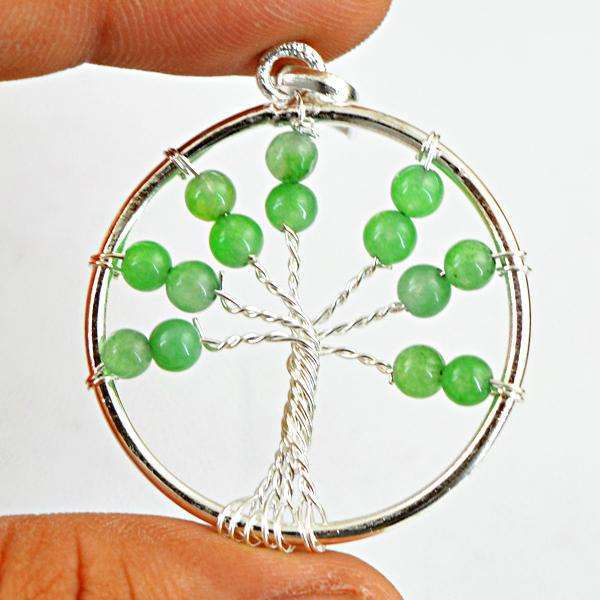 gemsmore:Amazing Natural Round Shape Green Jade Tree Pendant
