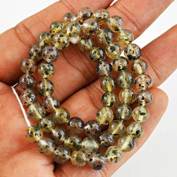 gemsmore:Amazing Natural Round Shape Rutile Quartz Drilled Beads Strand