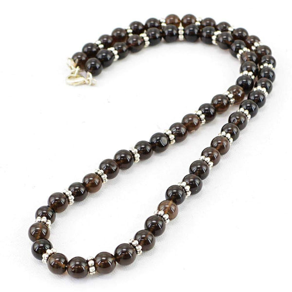 gemsmore:Amazing Natural Smoky Quartz Necklace Untreated Round Shape Beads