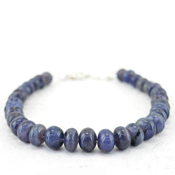 gemsmore:Amazing Natural Untreated Blue Tanzanite Bracelet Round Beads