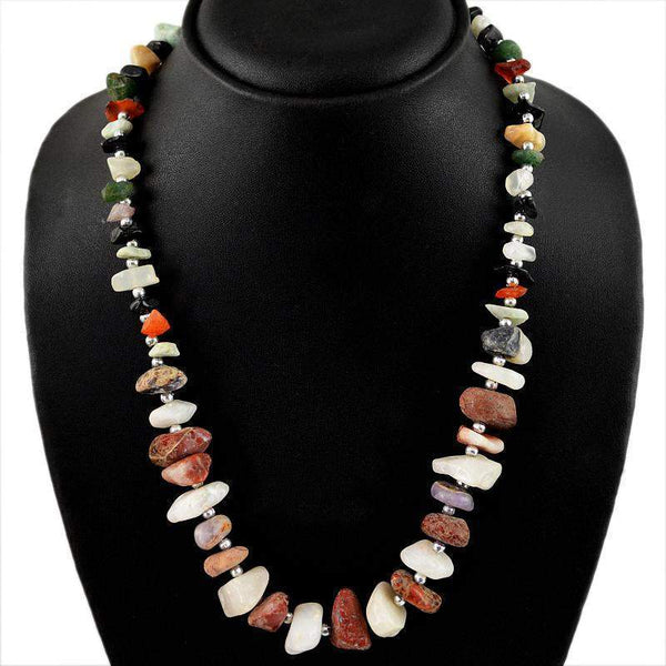 gemsmore:Amazing Natural Untreated Multicolor Agate Beads Necklace