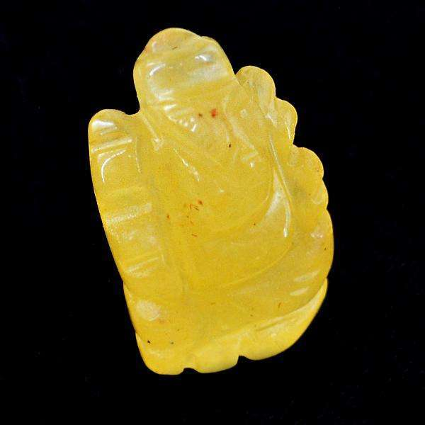 gemsmore:Amazing Natural Yellow Aventurine Carved Lord Ganesha Gemstone
