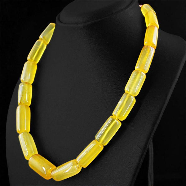 gemsmore:Amazing Natural Yellow Onyx Necklace Untreated Beads