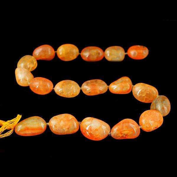 gemsmore:Amazing Orange Onyx Drilled Beads Strand