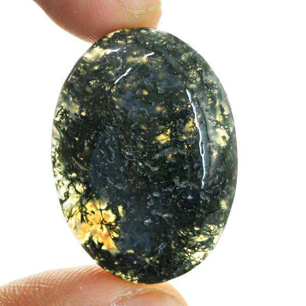 gemsmore:Amazing Oval Shape Green Moss Agate Untreated Loose Gemstone