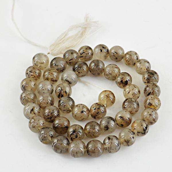 gemsmore:Amazing Rutile Quartz Round Shape Drilled Beads Strand