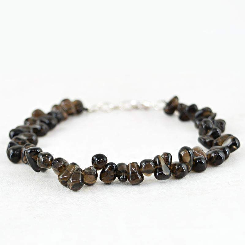 gemsmore:Amazing Smoky Quartz Bracelet Natural Tear Drop Beads