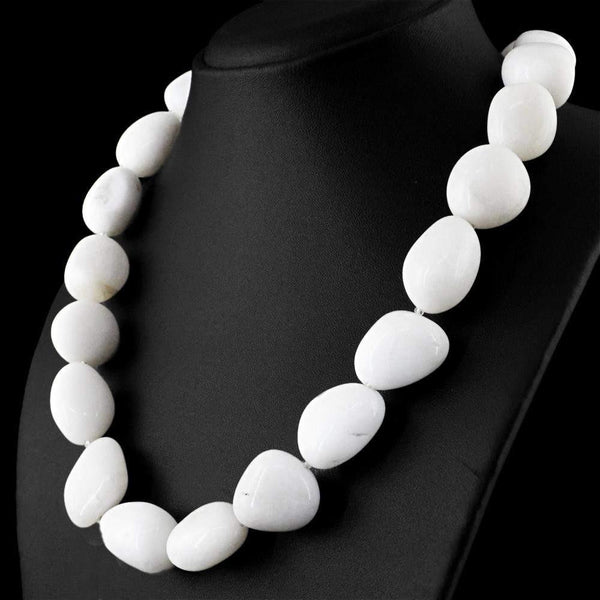 gemsmore:Amazing White Agate Necklace Natural Untreated Beads