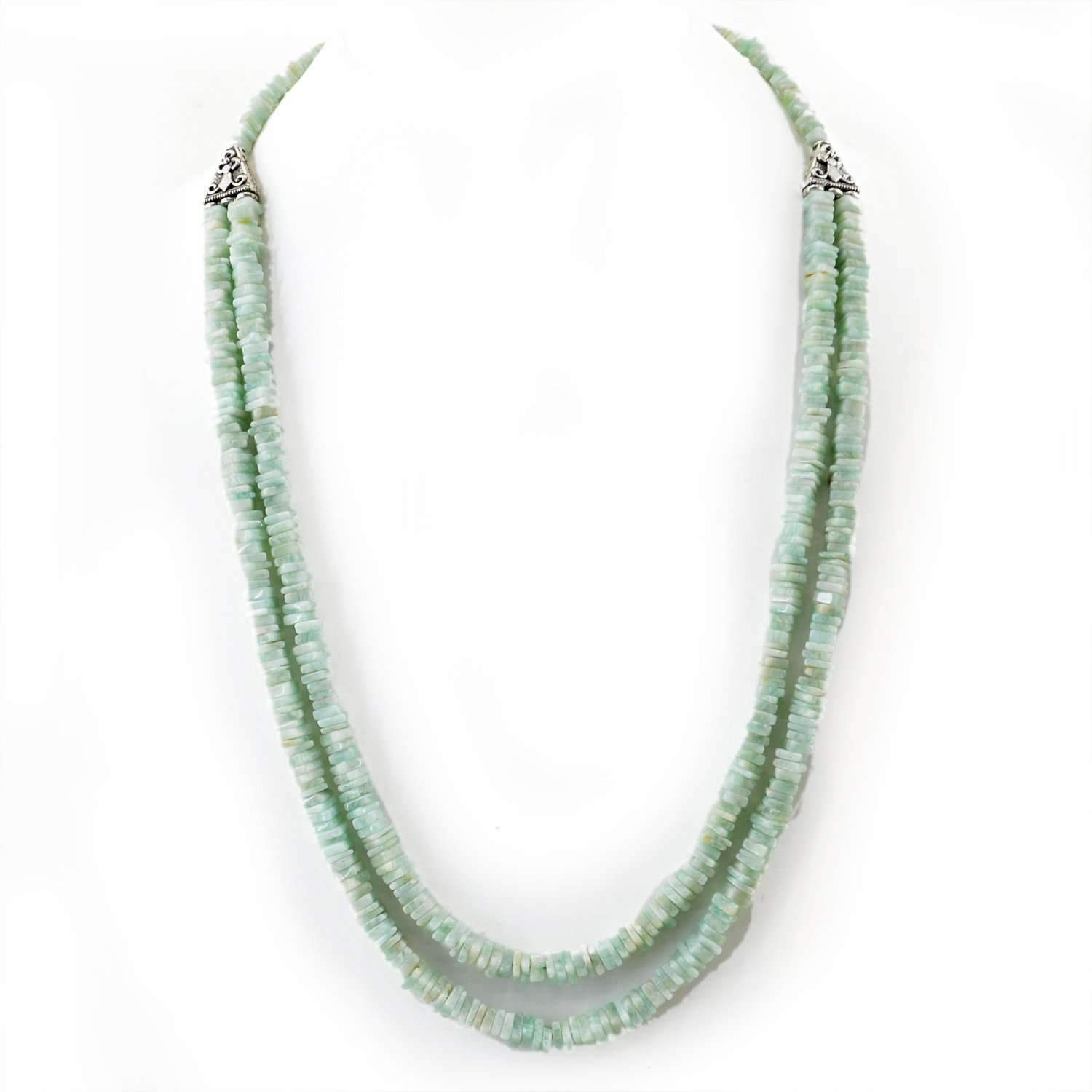 gemsmore:Amazonite Necklace Natural 2 Strand Genuine Beads - Best Quality