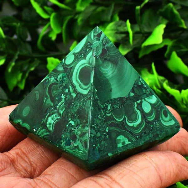 gemsmore:Artisian Carved Malachite Crystal Healing Pyramid
