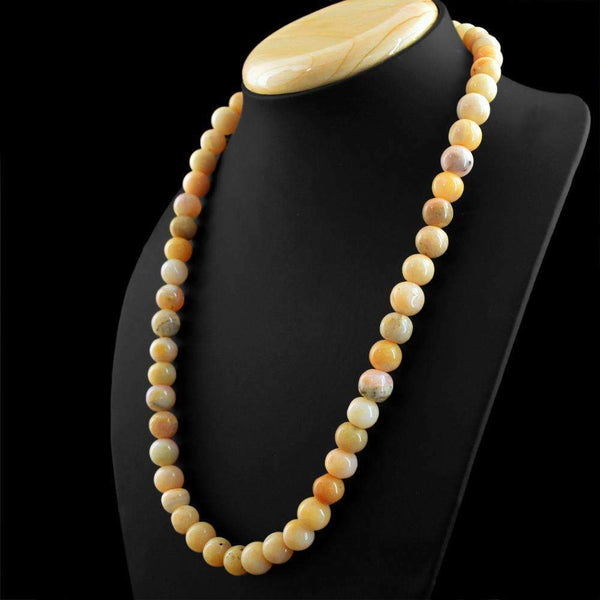 gemsmore:Australian Opal Necklace Natural Single Strand Round Shape Untreated Beads