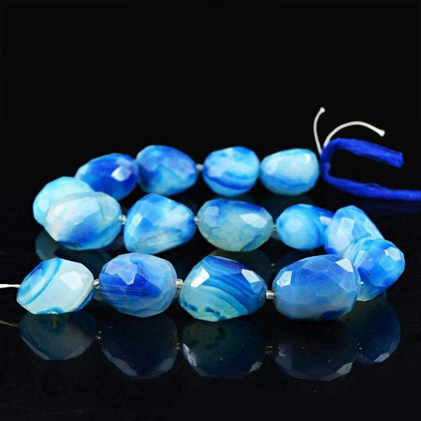 gemsmore:Beautiful Blue Onyx Beads Strand Natural Faceted Drilled