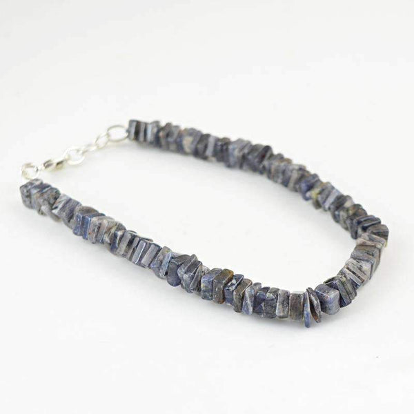 gemsmore:Beautiful Blue Tanzanite Bracelet Natural Untreated Beads