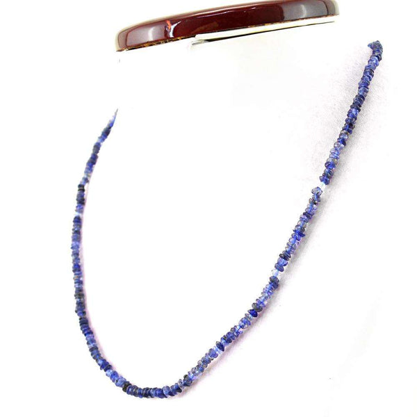 gemsmore:Beautiful Blue Tanzanite Necklace Natural Untreated Beads