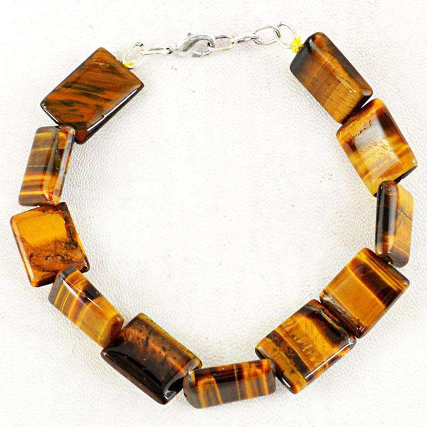 gemsmore:Beautiful Golden Tiger Eye Beads Bracelet Natural Untreated