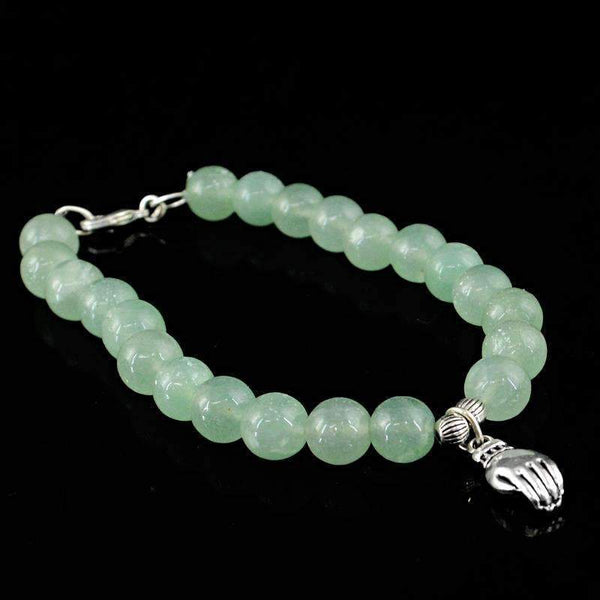 gemsmore:Beautiful Green Aquamarine Bracelet Natural Round Charm Beads